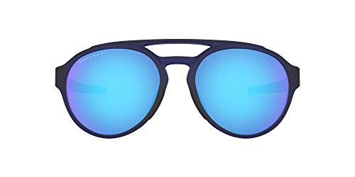 Oakley Men's OO9421 Forager Round Sunglasses, Matte Translucent Blue/Prizm Sapphire Polarized, 58 mm
