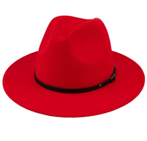 Lanzom Womens Classic Wide Brim Floppy Panama Hat Belt Buckle Wool Fedora Hat (One Size, Red)