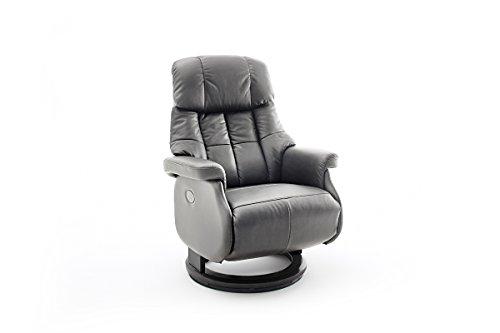 Robas Lund Sessel Leder Relaxsessel elektrisch bis 150 Kg TV Sessel, Relaxer Fernsehsessel Echtleder schlammfarben, Calgary Comfort XL