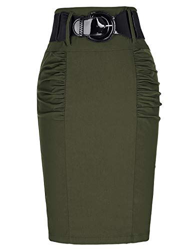Belle Poque Women Stretchy Work Skirts Stretchy Office Pencil Skirt,Olive Green L KK271-12