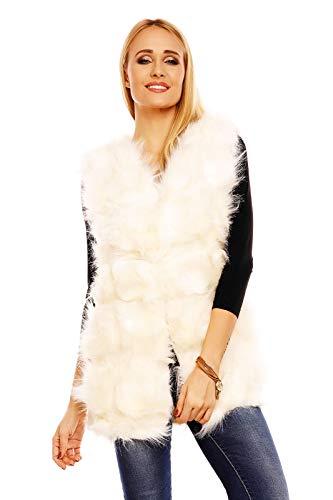 Mayaadi Damen Fellweste Jacke Weste Kunstfell Plüschweste Mantel Flauschige P6010 Creme L/XL