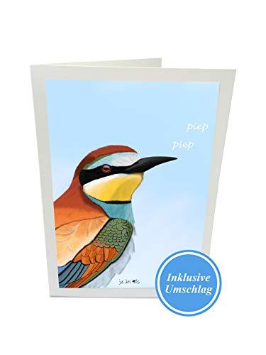 Glückwunschkarte mit Umschlag jz.birds Bienenfresser Zeichnung