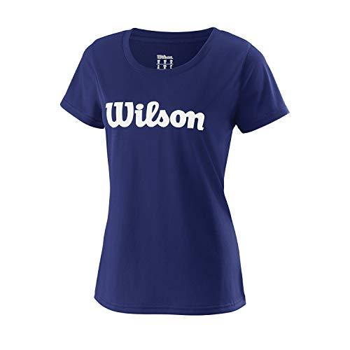 Wilson Damen UWII SCRIPT TECH TEE Tennis T-Shirt, Polyester, blau (Blue Depths)/weiß, M