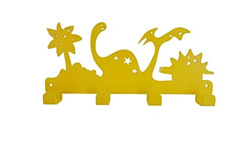 Fidofox ® perchero pared niños infantil. Exclusivo diseño DINOS en colores moda. Perfecto para decorar y organizar habitación. Instalación con o sin tornillos 3M™. Made in Spain 100% acero. (Amarillo)