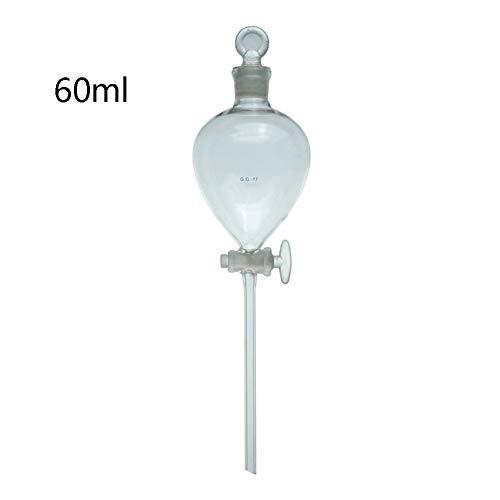 DADAKEWIN 60 Ml Glastrenntrichter-Kugel-Form Mit PTFE-Hahn Gerade Fallrohr Hitzebeständige Anpassbare Lab Trichter- Packung Mit 1 (Size : 60ml)