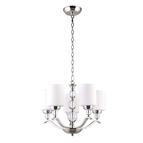CO-Z 5 Light Brushed Nickel Chandelier, Contemporary Ceiling Light Fixture with Decorative K9 Crystal Ball and Satin Etched Cased Opal Glass Shade, Modern Chandelier Lighting for Dining Room