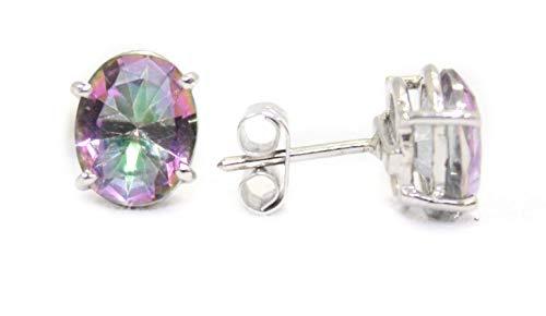 Rajasthan Gems Pendientes de tuerca para mujer, plata de ley 925, topacio místico sintético, piedra preciosa P 116