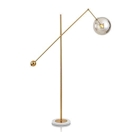 Home Equipment Lámpara de pie moderna LED Luz de pie dorada con pantalla de bola de cristal para sala de estar Sofá Dormitorio Lámpara de pie de lectura Interruptor de presión de pie Base de mármol