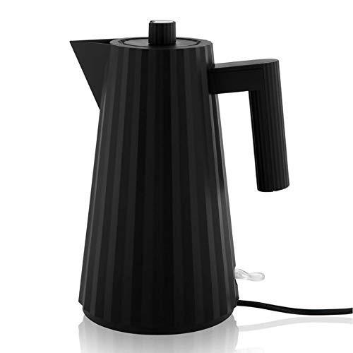 Alessi Plissè MDL06 B/UK - Design Elektrischer Wasserkocher aus Thermoplastischem Harz, Englischer Stecker, 170 cl, Schwarz