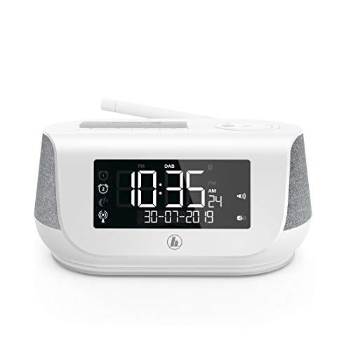 Hama Radiowecker mit Stereo-Digitalradio, Bluetooth, USB-Ladefunktion, DR36SBT (digitales Uhrenradio, 2 Weckzeiten, Wochenendfunktion, automat. Helligkeitsregulierung) DAB/DAB+ Weckradio Weiß