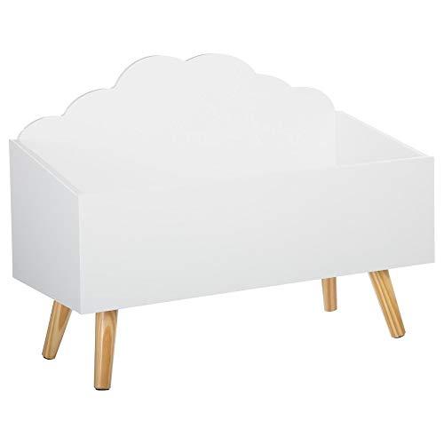 Atmosphera Coffre à Jouets Meuble de Rangement - Forme Nuage - Coloris Blanc