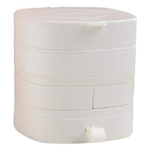 Gesh Caja de almacenamiento giratoria para mujer, 4 capas, para collares, pendientes, anillos, charola de almacenamiento, regalo de cumpleaños, color blanco