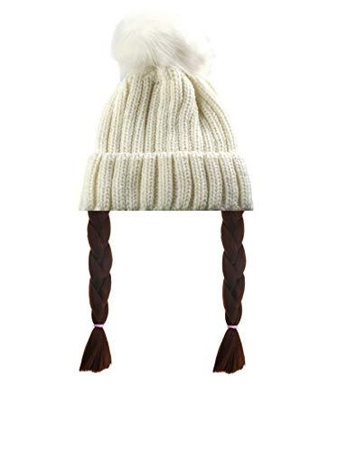 Greta Thunberg Hut und Haarteil Zopf Zöpfe weiß Bommel Mütze Strick Design Perücke Zopf Eco Warrior Klimaschutz Kostüm
