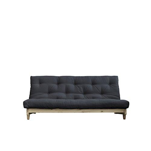 Karup Design Fresh | 3 sitzer Futon Schlafsofa im skandinavischen Stil, Natur Holz mit Dunkel Grau Matratze 140 x 200 | Kiefer, FSC Mix Zertifiziert Gestell: nordische, 90 x 140 x 200