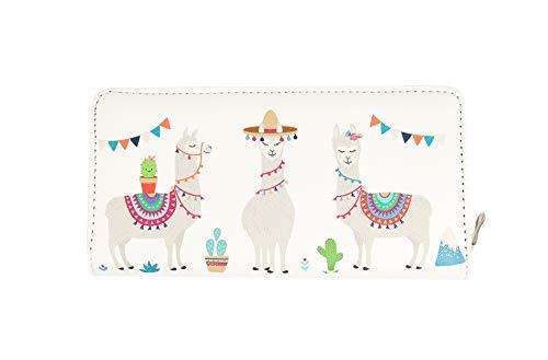 Sunny Times Geldbörse Frauen und Mädchen, Portemonnaie Damen mit Lama Alpaka Motiv, Tier Motiv, Reißverschluss, lang, groß (Farbe D)