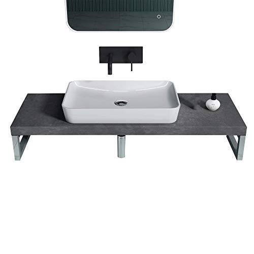 doporro Waschbeckenauflage 50x160cm Waschtischkonsole in Anthrazit für Waschschalen inkl. Konsolenhalterung