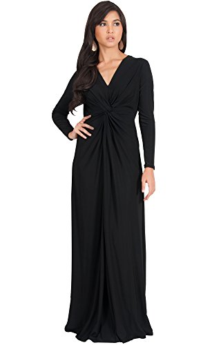 KOH KOH Womens Long Sleeve Semi Formal Fall Winter Flowy Gown Maxi Dresses