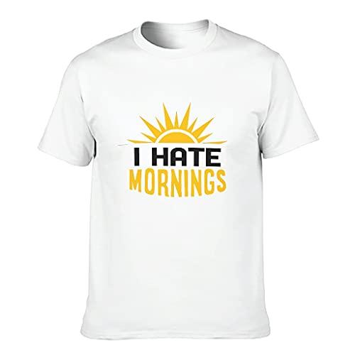 T-Shirt I Hate Morning 3D Digitaldruck Mehrere Muster Kurzarm Basic T-Shirt für Männer Frauen Gr. 6X-Large, weiß