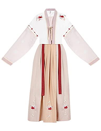 Vestido tradicional chino Hanfu para mujer Tang Dynasty cuello redondo traje antiguo traje cosplay traje conjunto 3 piezas-white_L