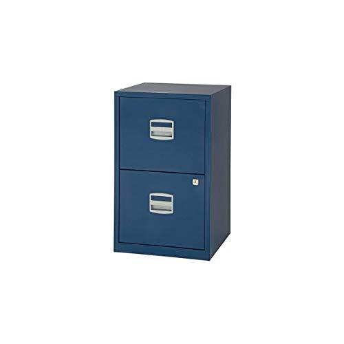 Bisley Archivador de metal con 2 cajones A4, color azul Oxford