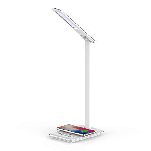 Luminária LED Portátil & Carregador por indução Qi, acompanha carregador de parede 18W, LPQIWT, Alumínio/Branco, Geonav