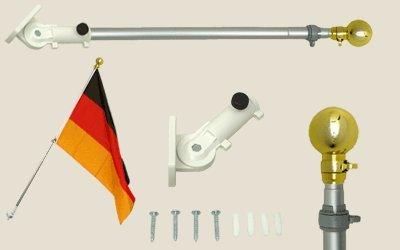Fahnenstange mit Wandhalterung aus Nylon, max. Länge 180 cm, schwenkbar (180°), mit Kugelspitze