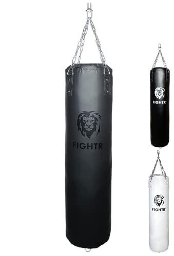 FIGHTR® Premium Boxsack - hoher Schlagkomfort & sehr Robust   ungefüllter Punching Bag hängend 120x35cm inkl. Heavy Kette für Boxen, Kampfsport, MMA (ungefüllt, All Black Vinyl)