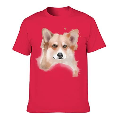 Herren Ink walisische Corgi Baumwolle T-Shirt – Personalisieren Tee Gr. 58, Rot1