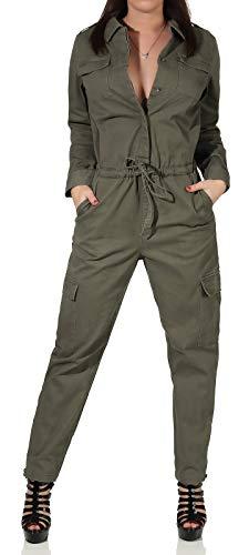 ONLY Damen Jumpsuit Meja-Elina Hosen-Anzug mit Cargo-Taschen 15191626 Kalamata 40/32