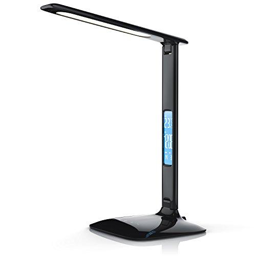 Brandson - dimmbare LED Schreibtischlampe - Augenschutz - 3 Lichtfarben kalt warm neutralweiß 5 Helligkeitsstufen - Temperatur Alarm- und Kalenderfunktion - schwarz