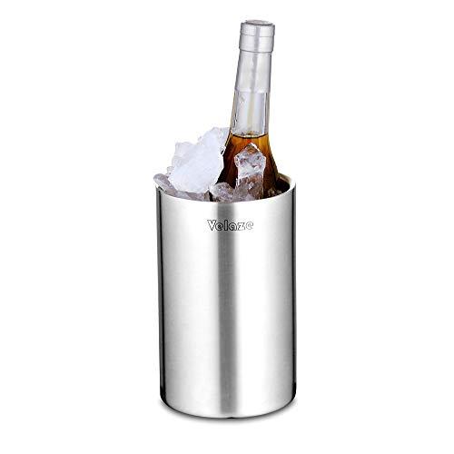 Velaze Refrigeratore Bottiglia per Vino Attivo in Acciaio Inox a Doppia Parete per Bottiglia di Champagne e Vino, Non cè Bisogno di Ghiaccio! Argento, 1,5L