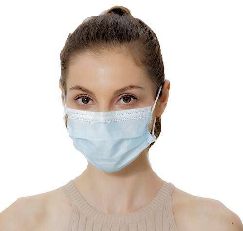 BQB Disposable Face Mask Breathable Masks Safety Protective Mouth Nose Dust Cover Outdoor Unisex Pack Of 50 3ply Blue