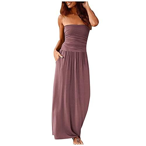 FQZWONG Women's Bandeau Dress Off Shoulder Long Dress Fashion Summer Solid Maxi Dress for Holiday Beach(A-Purple,Large)