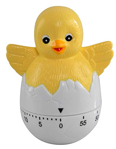 "HOME-X Chick Timer, Cute Kitchen Home Decor, Useful Kitchen Gadgets, Animal Timers Mechanical Kitchen Cooking Timer Clock Loud Alarm Counters-Student Timer- 55 Minutes-3 3/4"" L x 3""D"
