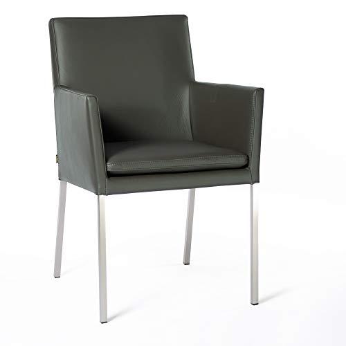 EMAN Möbel Armlehnstuhl Lederstuhl Stella Rindsleder Grau | SIX Besucherstuhl Stuhl Stühle