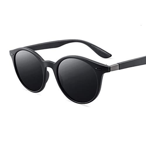 NJJX Gafas De Sol Redondas Polarizadas De Moda Para Hombres Y Mujeres, Gafas De Sol Vintage Con Forma De Ojo De Gato Para Hombre Y Mujer, Para Conducir Al Aire Libre, Retro, Negro, Espejo, Negro, Gris