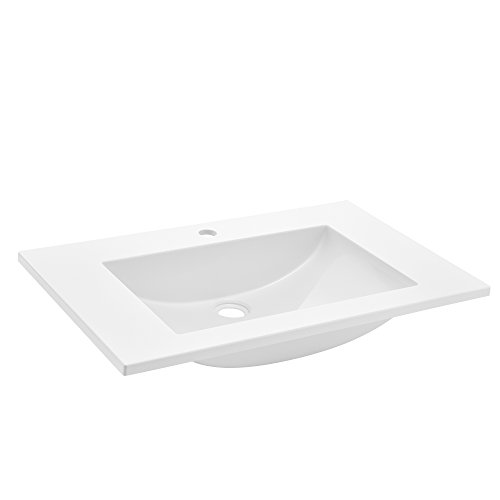[Neu.Haus] Lavabo Lujoso en Forma Rectangular - (75x46cm) Blanco - Lavabo Integrado - SMC Duroplast (Compuesto de moldeo de láminas)