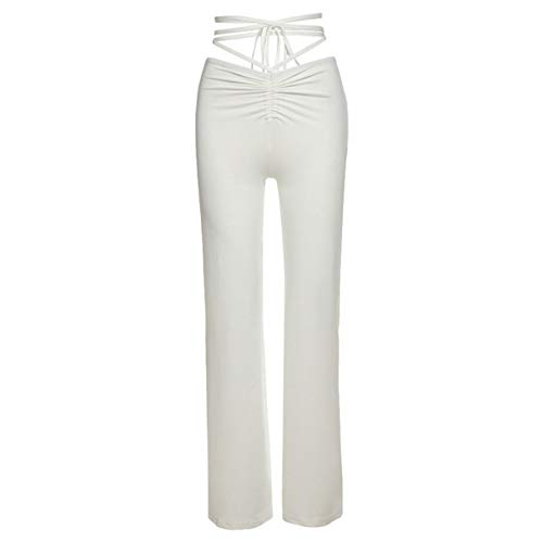 Kordelzug Hose Damen mit Hoher Taille Bandage Jogginghose Y2k Yoga Pants Elastische Hose Sexy Streetwear (Weiß, S)