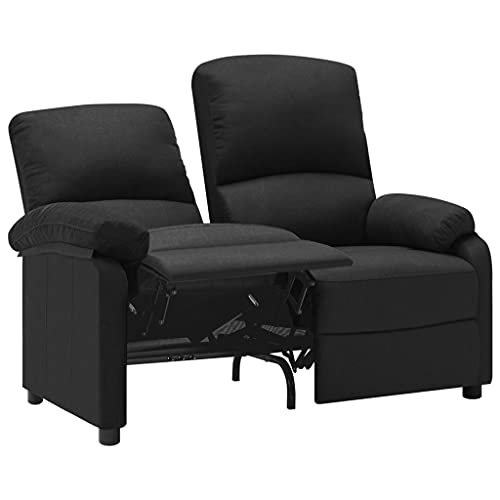 vidaXL Sofa 2-Sitzer Verstellbar Kinosofa Fernsehsofa Heimkino TV Sessel Fernsehsessel Relaxsessel Polstersessel Ruhesessel Liegesessel Schwarz Stoff