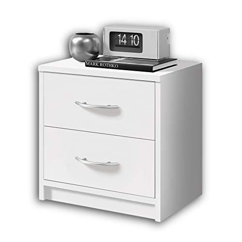 Stella Trading PEPE Nachttisch Weiß - Schlichter Nachtschrank mit zwei Schubladen passend zu jedem Bett & Schlafzimmer - 39 x 39 x 28 cm (B/H/T)