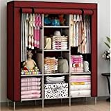 Device Folding Wardrobe Storage Rack Collapsible Clothes Fabric Cloth Storage Almirah (Wine Red)