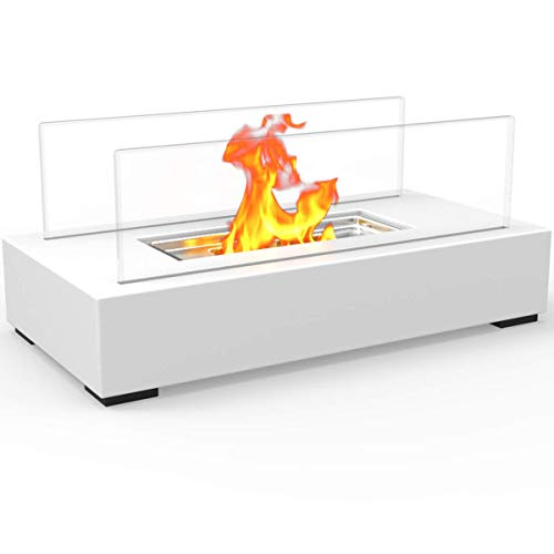 Regal Flame Indoor Outdoor Utopia Ventless Tabletop Portable Bio Ethanol Fireplace - White
