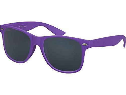 Balinco Hochwertige Nerd Sonnenbrille Rubber im Retro Stil Vintage Unisex Brille mit Federscharnier - 96 verschiedene Farben/Modelle wählbar (Lila - Smoke)