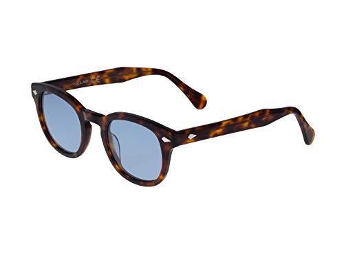 X-LAB Gafas de sol 8004 estilo moscot lentes polarizadas unisex (tortuga oscura, azul)