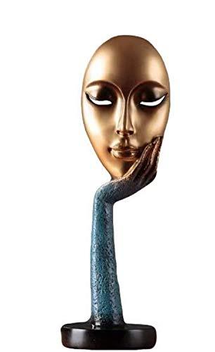 estatuas y Figuras de Cara de Mujer Modernas y Simples, diseño Abstracto Idea decoración de Escritorio(Azul)