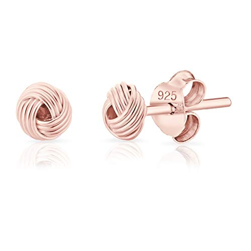 DTPsilver Orecchini a Perno/Pressione PICCOLI - Argento 925 Placcato in Oro Rosa - Forma di Nodo celtico - Diametro: 5 mm