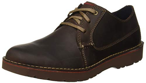 Clarks Vargo Plain, Scarpe Stringate Derby Uomo, Marrone (Dark Brown Leather-), 44.5 EU