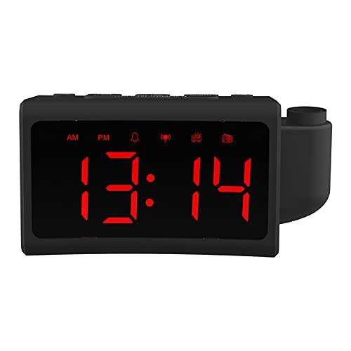 Pantalla Grande Pantalla LED Despertador Despertador Proyección Radio Reloj electrónico Reloj de Mesa de vibración Curvo