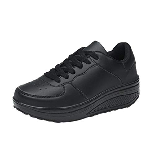 Wedges Sneakers Für Damen/Dorical Frauen Plateau Schnürer Sneakers mit Keilabsatz Fitnessschuhe Sportschuhe Atmungsaktive Laufschuhe Outdoor Freizeitschuhe Turnschuhe Ausverkauf(Schwarz,35 EU)