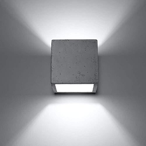 LHG Beton-Wandleuchte LED 5W | Betonleuchte eckig Up & Down Light | Wandlampe Würfel CUBE 10x10 cm Länge | Betonlampe | Beton-Lampe inkl. 5W LED-Leuchtmittel warmweiß